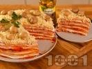 Рецепта Солена палачинкова торта с пастет, лютеница, майонеза и мариновани гъби